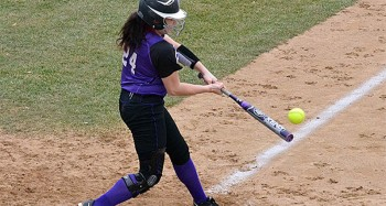 Miranda Robles, junior, at the plate for Goshen softball. Photo by GoLeafs.net