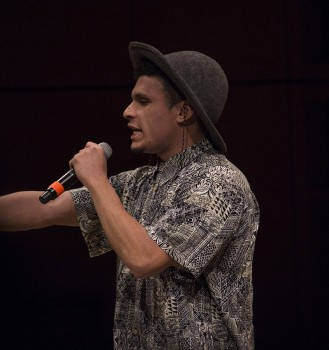 Abe Medellin, first-year interdisciplinary major, performs during the Spring Kickoff. Photo by Hannah Sauder