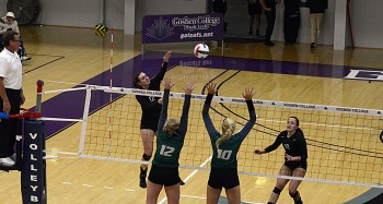 Katy Anspach, plays for Goshen's Women's Volleyball team after recovering from a torn ACL. Twice. Photo by goleafs.net