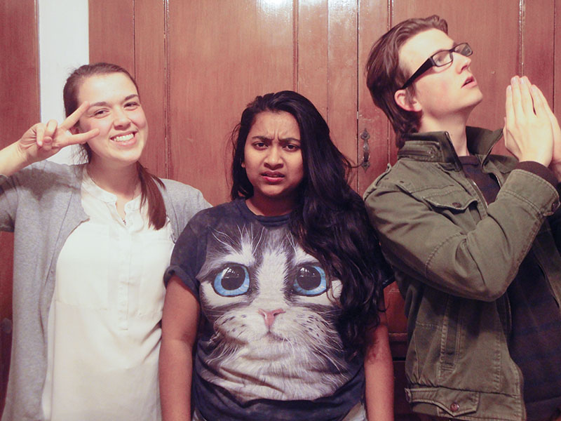 Hannah Beachey, Prashansa Dickson and Kiernan Wright pose for a picture