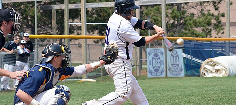 Baseball player makes a hit