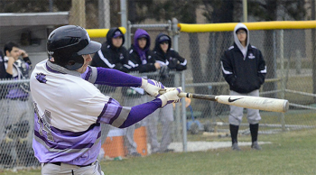 Brad Stoltzfus, sophomore, bats for Goshen during a recent game. Photo by GoLeafs.net