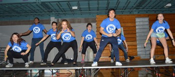 GC students lead dancing during the LSU dance marathon this past Saturday. Photo by Mimi Salvador