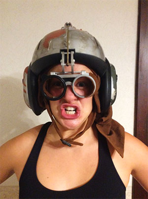 Erin Bergin with a funny helmet on