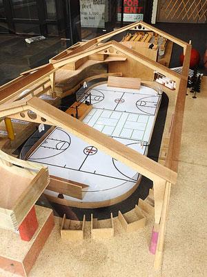 """Large wooden model of a potential design for """"Central Park Goshen"""""""