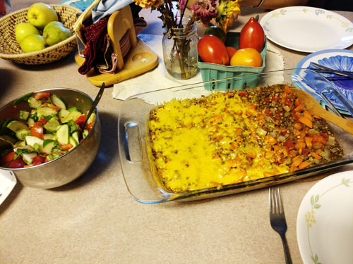 Photo of a salad and casserole