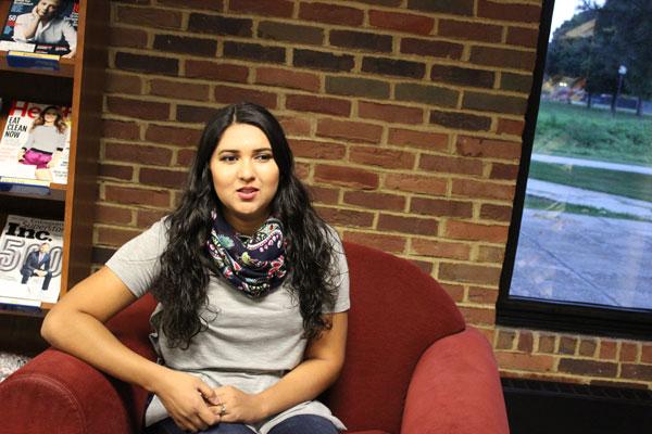 Alexa Valdez in the library