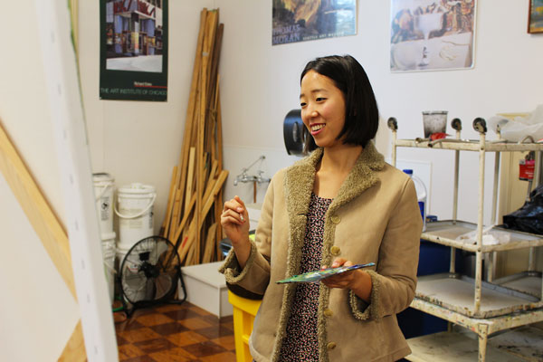 Dona Park at work in art studio