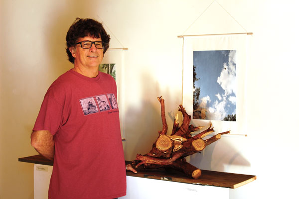 Merrill with art pieces