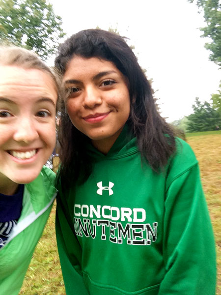 Leah Landes takes a selfie with one of her students
