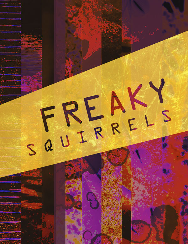 Red and yellow poster for Freaky Squirrels