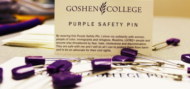 Purple safety pins show solidarity