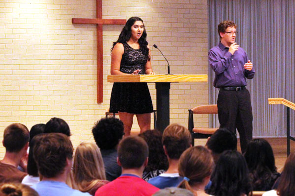 Alexa Valdez speaks in church chapel