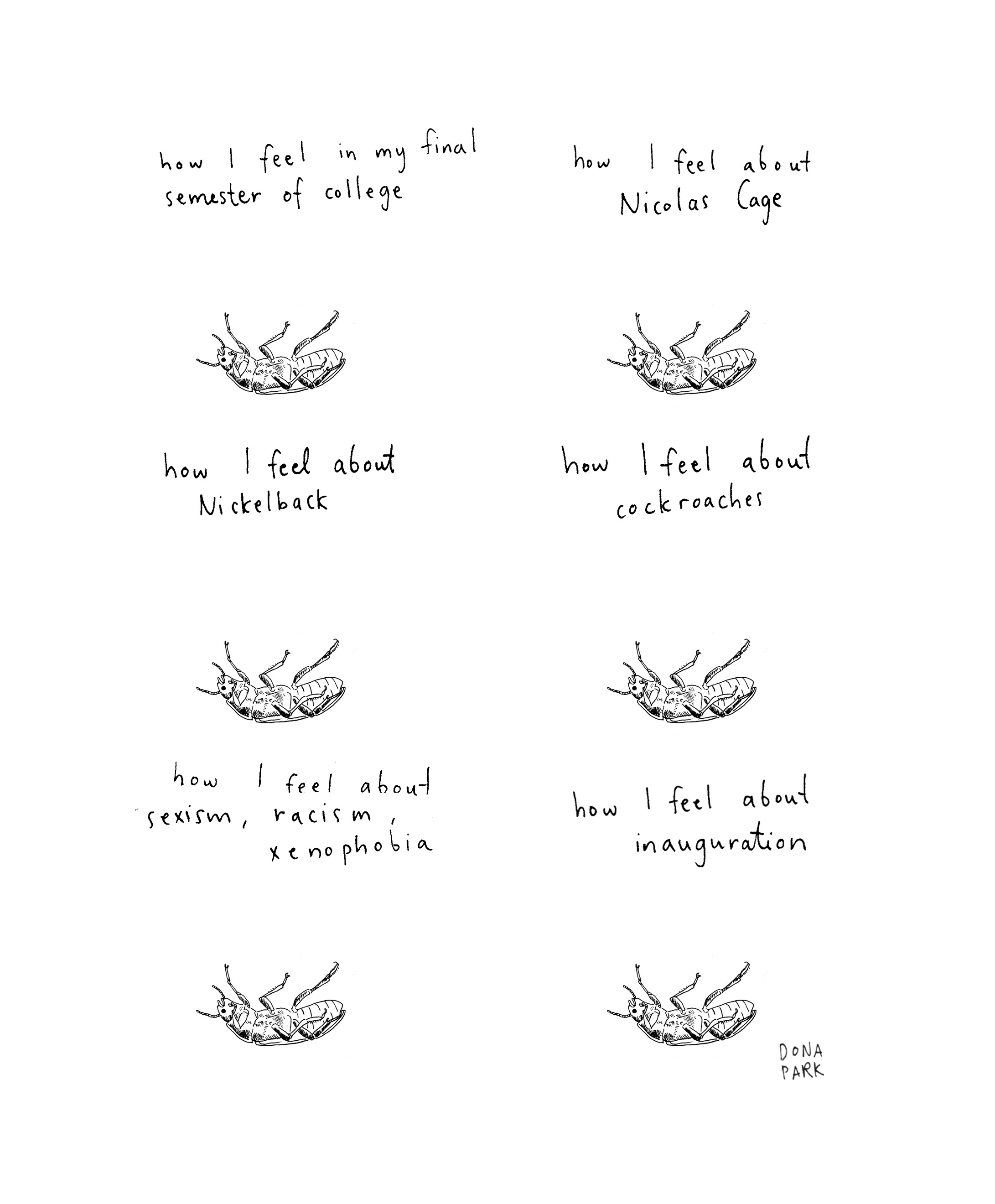 Feelings about topics such as Nicolas Cage and the inauguration illustrated by drawings of cockroaches