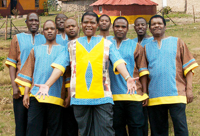 Members of the group Ladysmith Black Mambazo pose for a picture