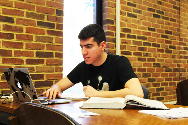 Student works in the library