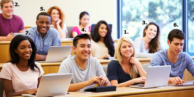 Stock image of smiling students in a classroom