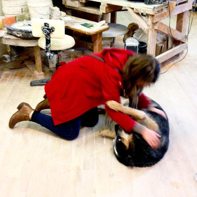Irina Gladun pets a dog