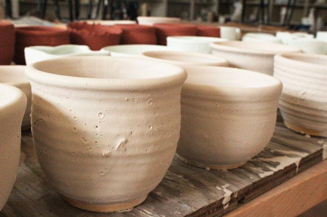 shelf of ceramic bowls