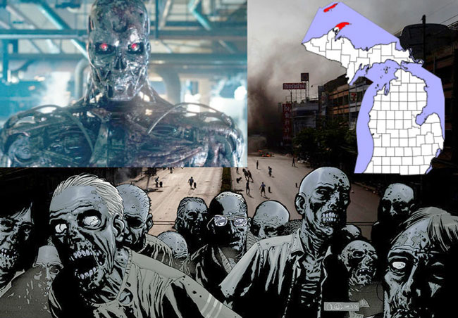 Compilation of apocalyptic images, including zombies and robots