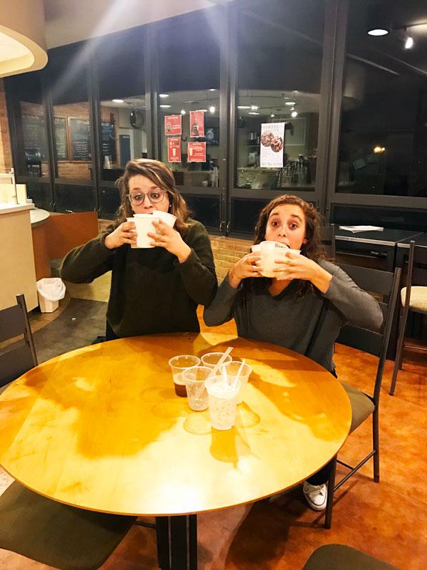 Maddie Birky and Maggie Weaver enjoy drinks in Java Junction