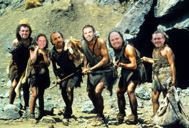 Goshen professors' faces photoshopped onto an image of men with spears