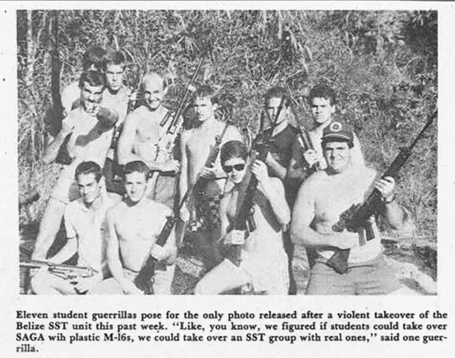 Newspaper clipping featuring an image of Goshen students posing with guns while on Belize SST in 1985