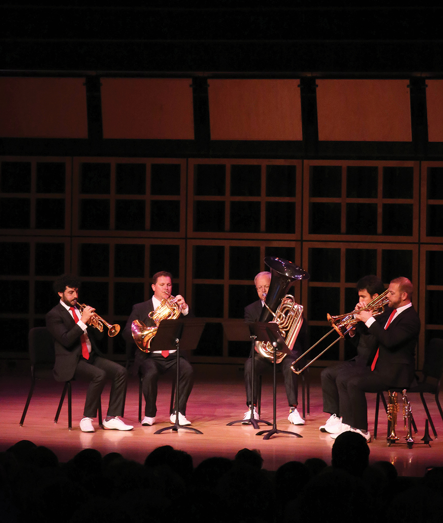 The four members of Canadian Brass perform in Sauder Concert Hall