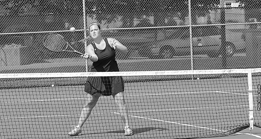 Action women's tennis shot