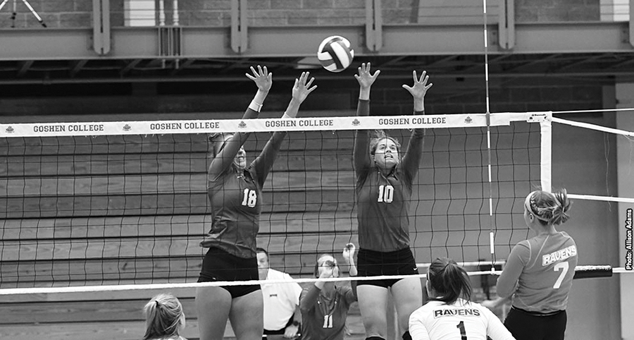 Women's volleyball team in action.