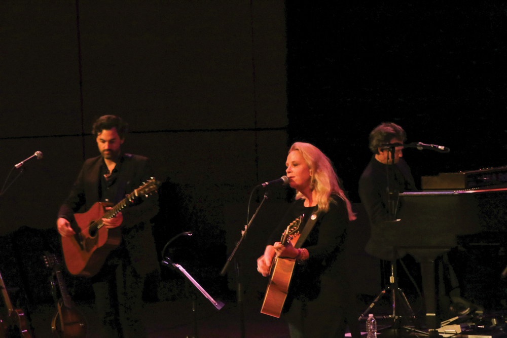 Mary Chapin Carpenter sings and plays guitar in Sauder Concert Hall