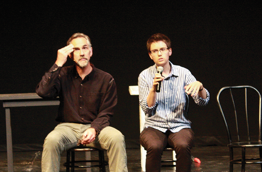 Ted Swartz and another actor perform in Umble Center
