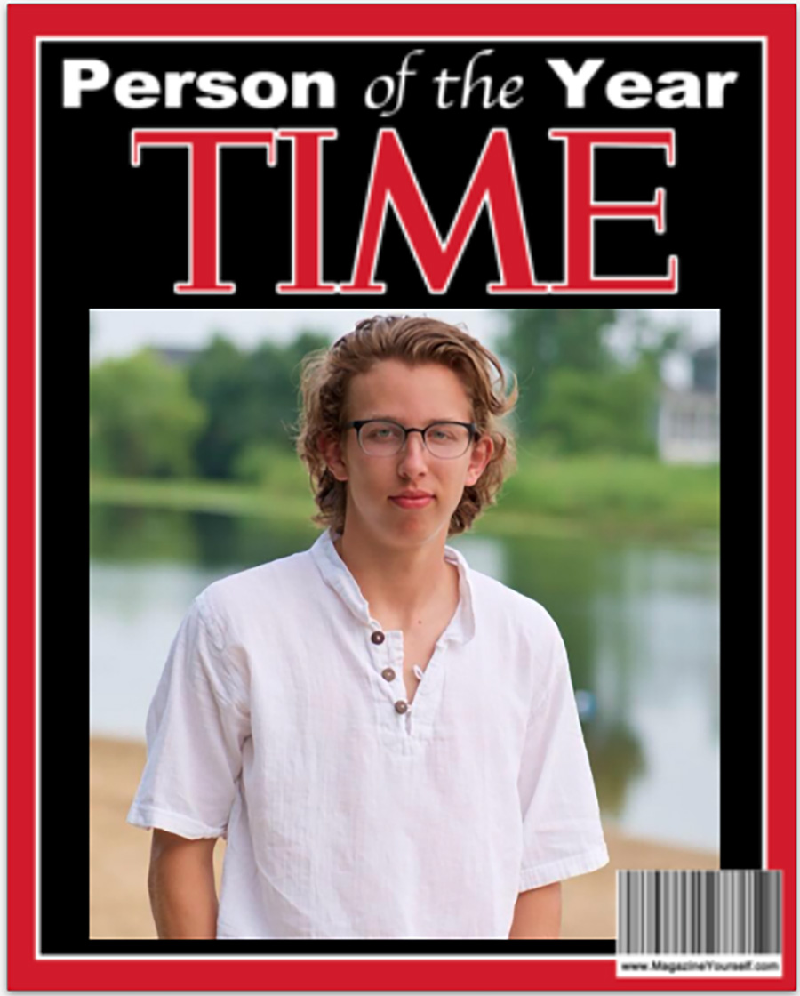 """Photo of Isaac Longenecker edited onto a TIME """"Person of the Year"""" magazine cover"""