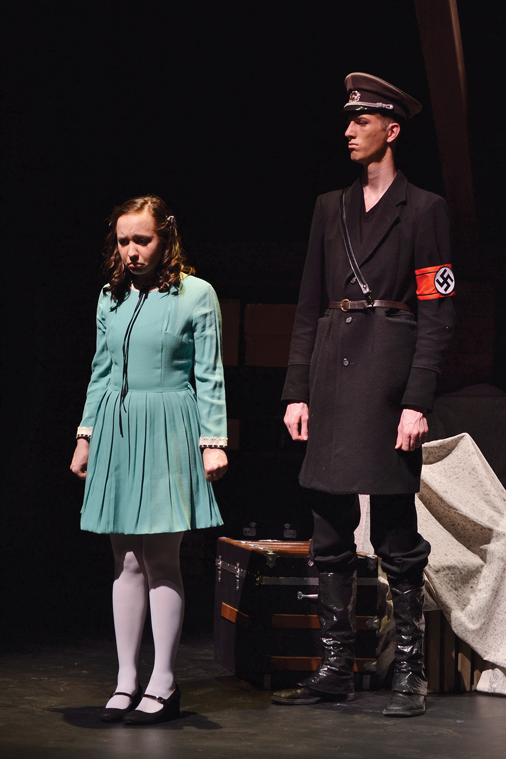 Ben Meyer Reimer and another student actor perform in a scene in Umble Center