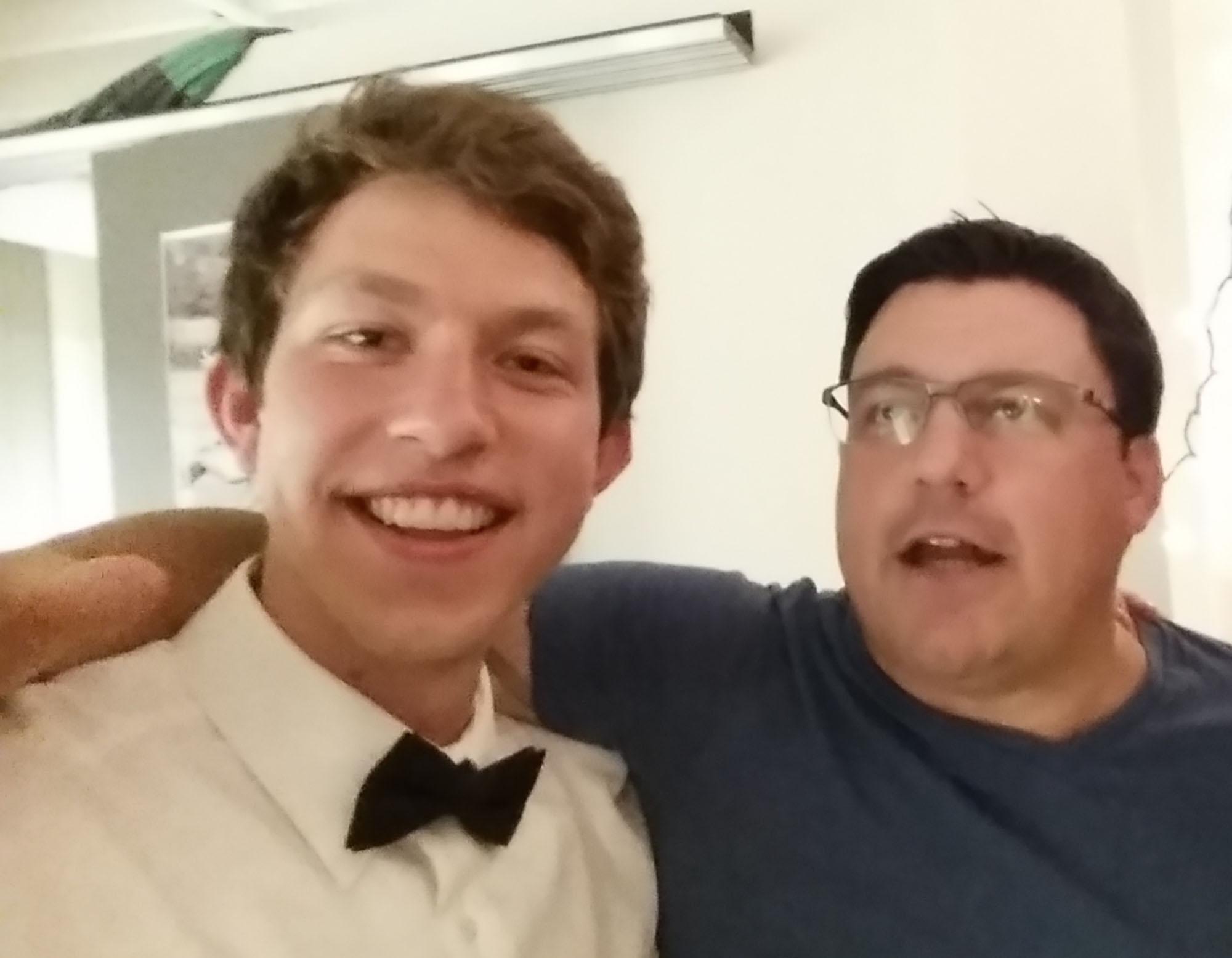 Caleb Longenecker takes a selfie with Jason Samuel