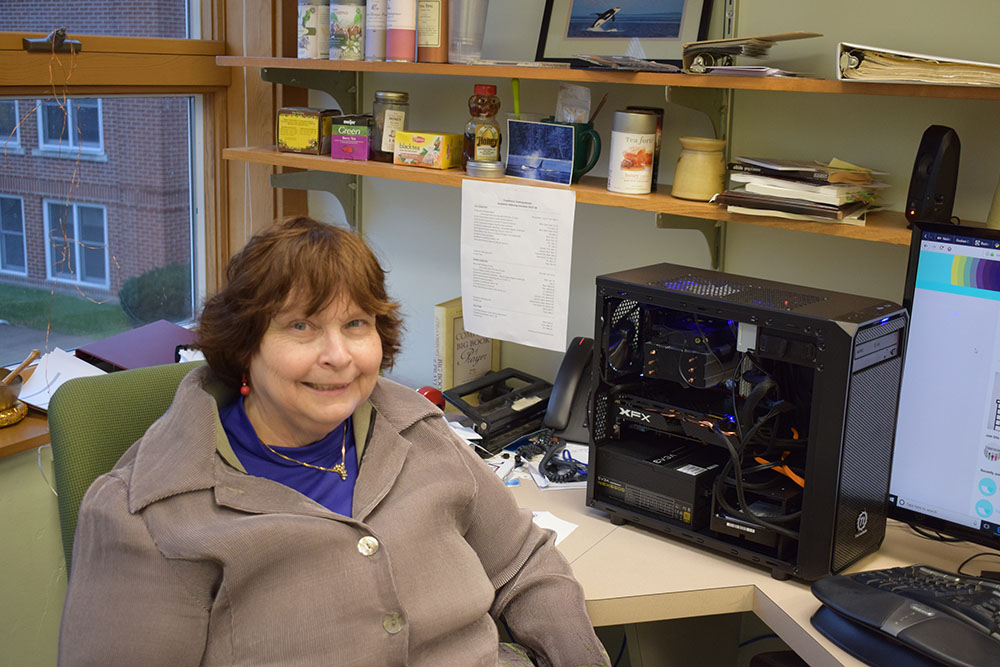 Jeanette Shown with her computer