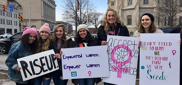 Goshen College women march for equal rights