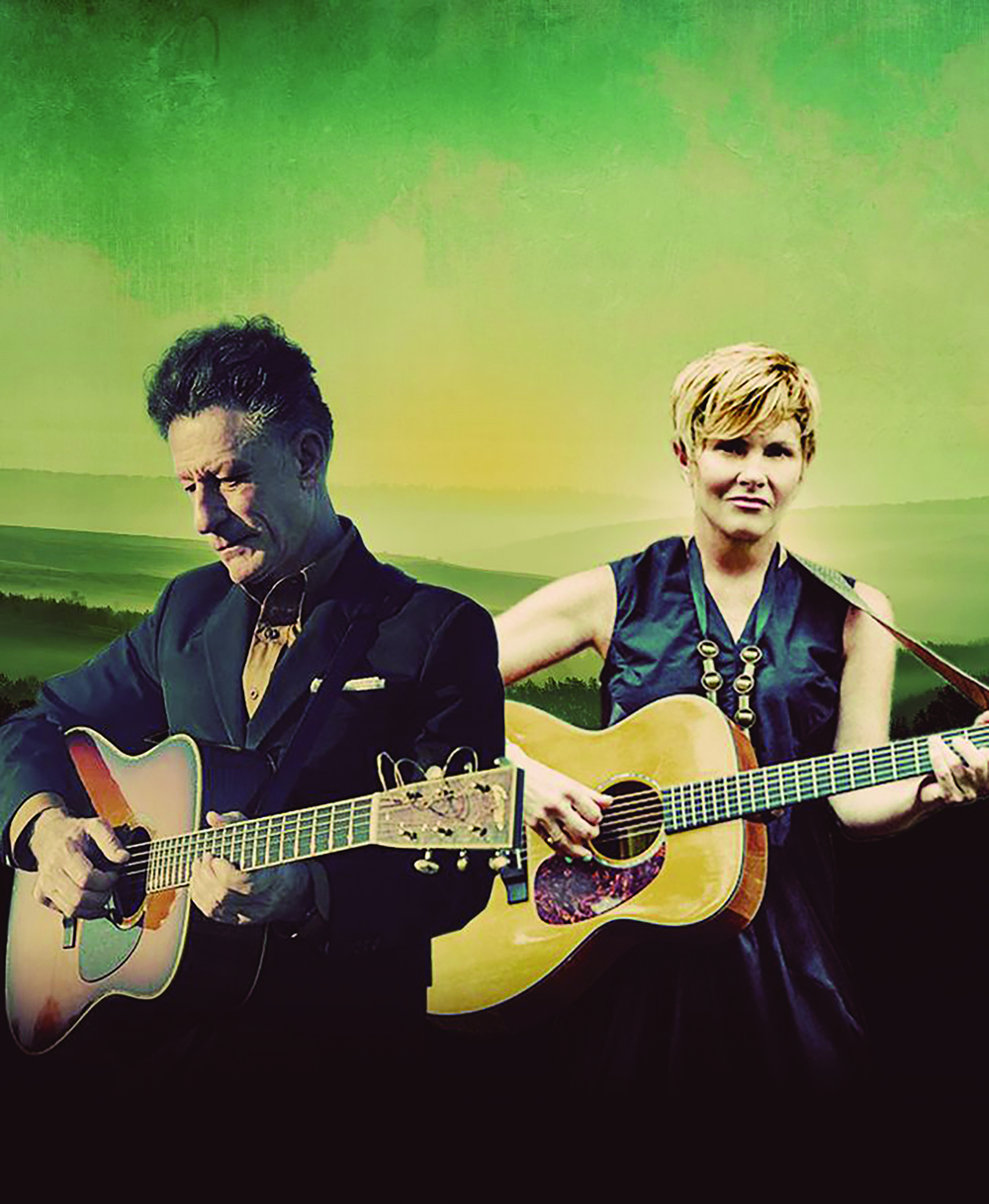 Lyle Lovett and Shawn Colvin playing guitar