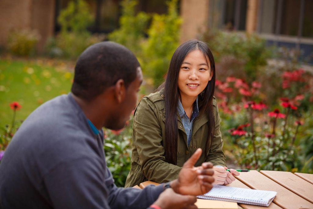 Students meet at picnic table