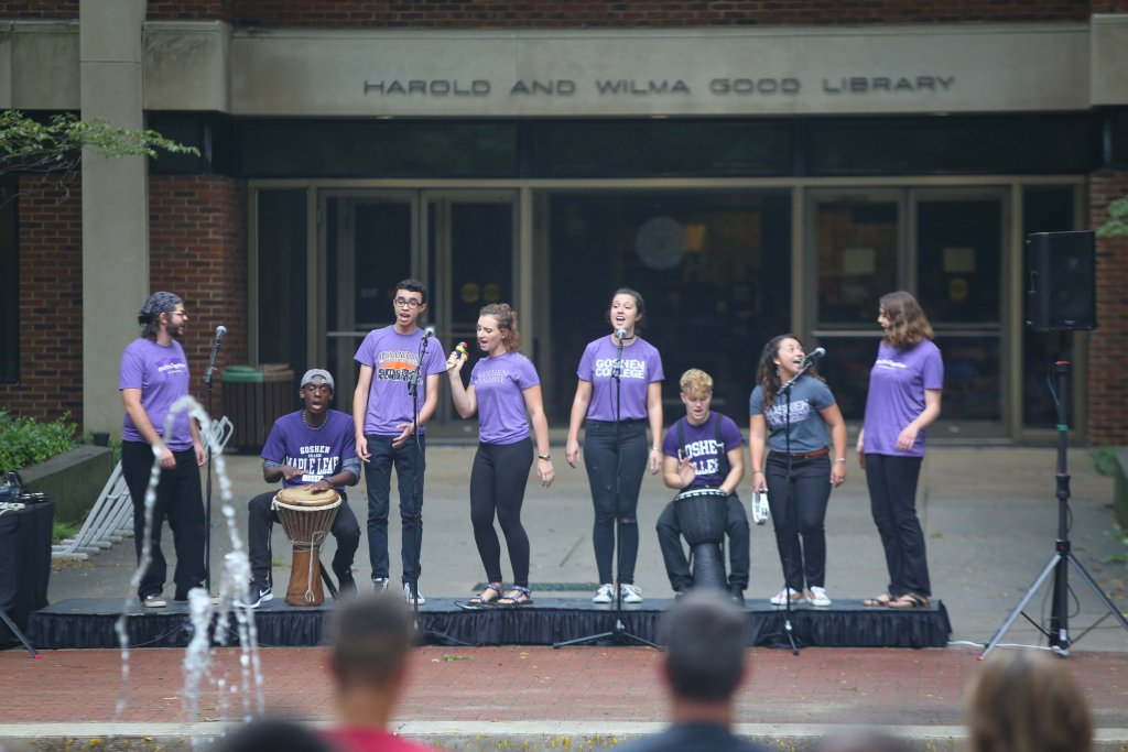 Parables performing in Schrock plaza