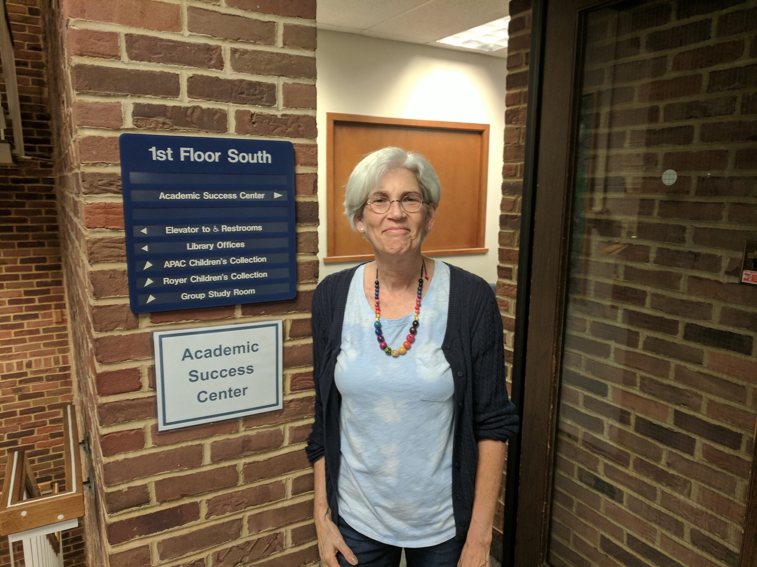 Judy Weaver by the academic success center