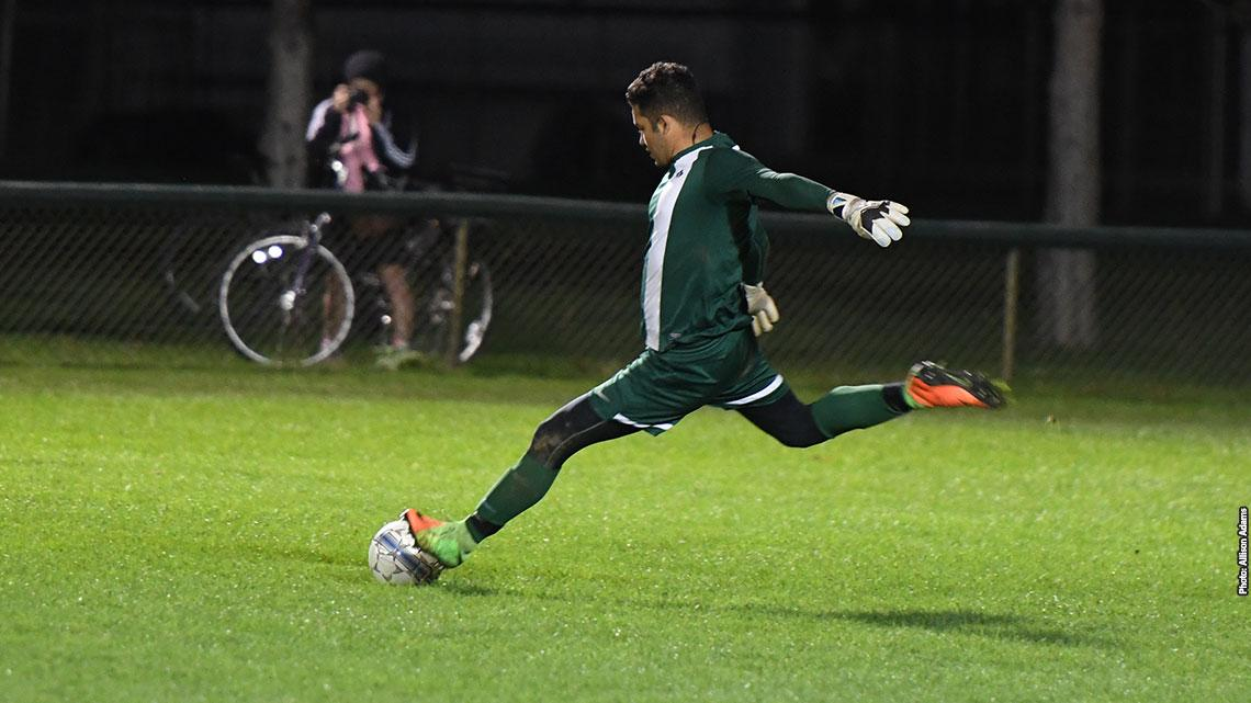 Goalkeeper sends the ball down the field