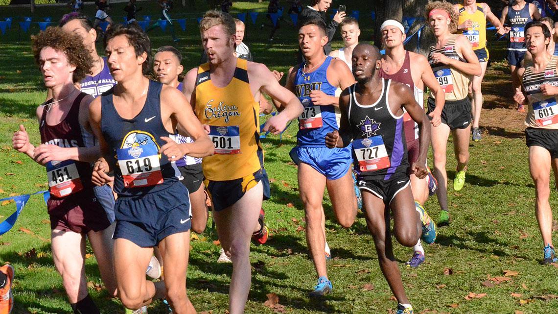 Kibunja runs in a pack of cross country runners