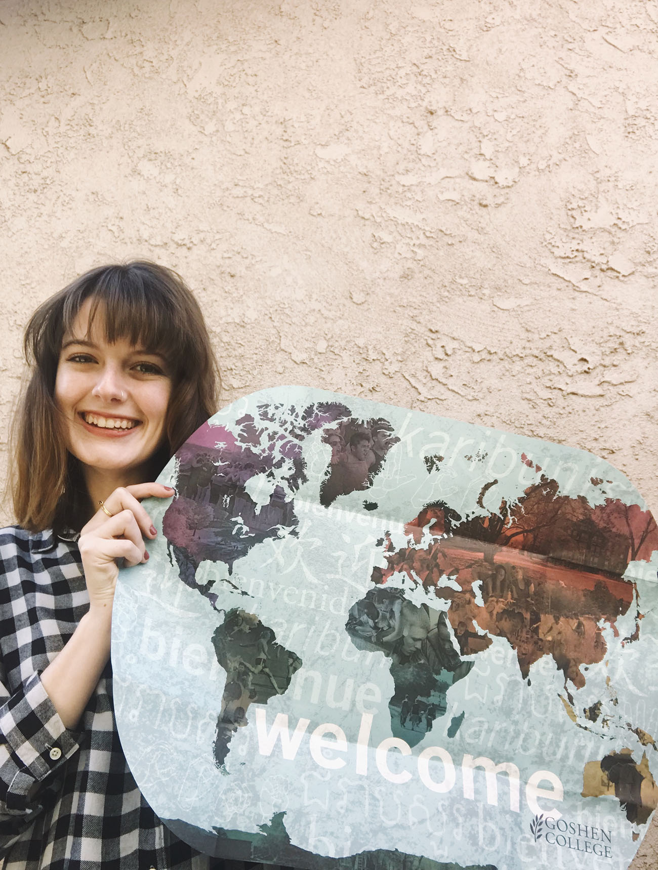 Hannah Cole with a welcome to GC map