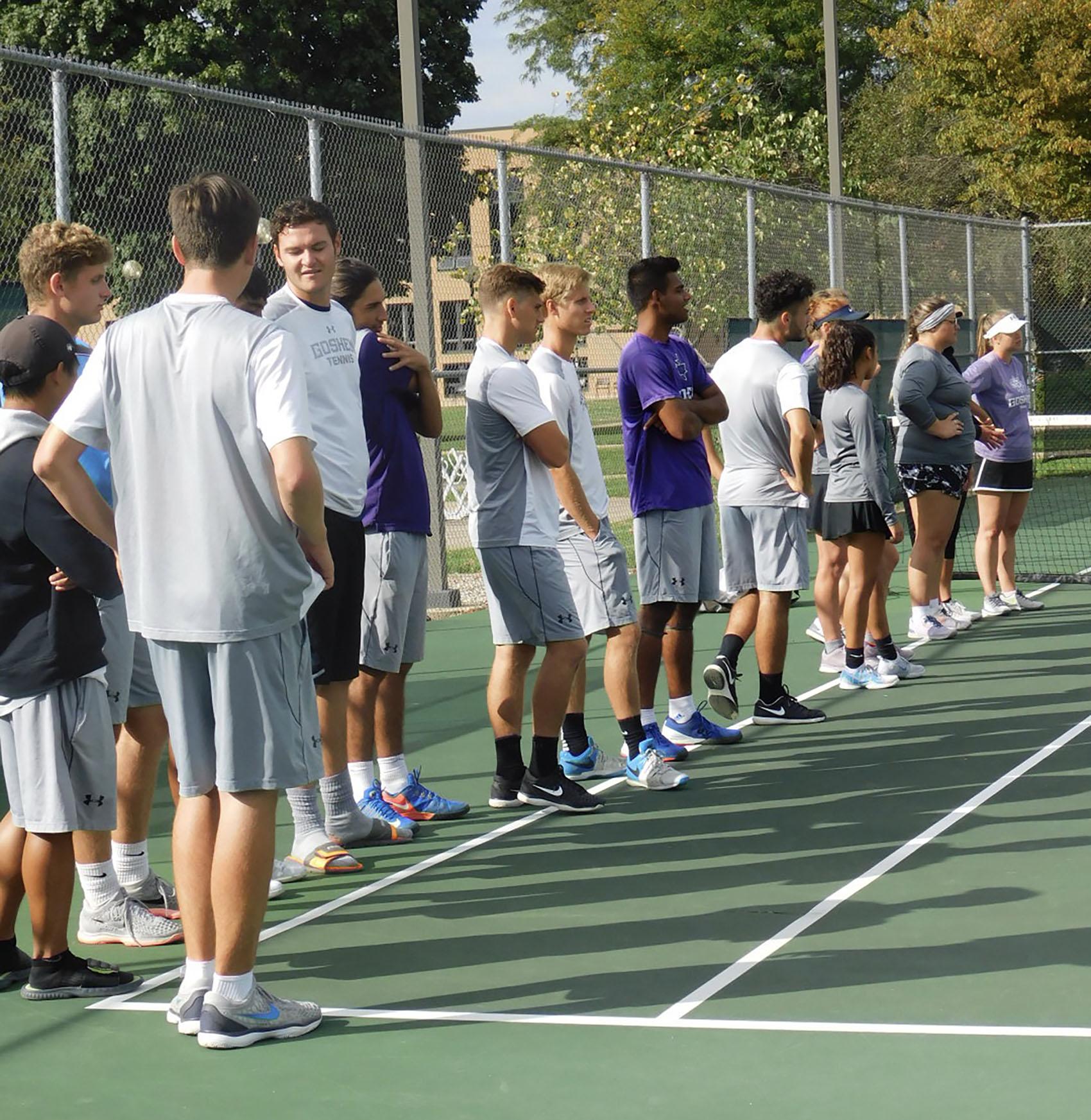 Tennis team in a line