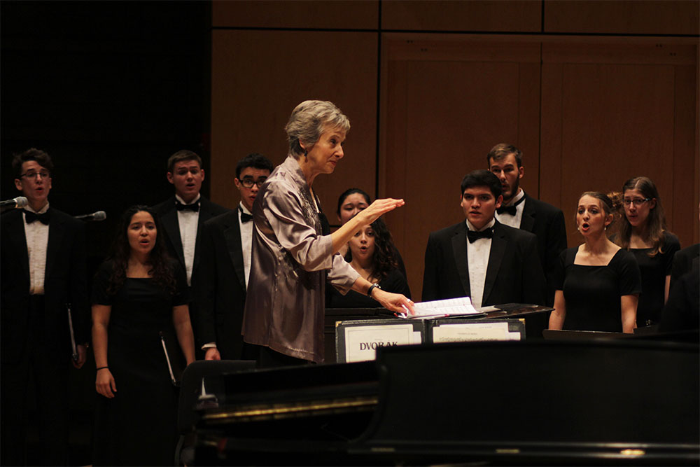 Chamber choir performing in Sauder hall