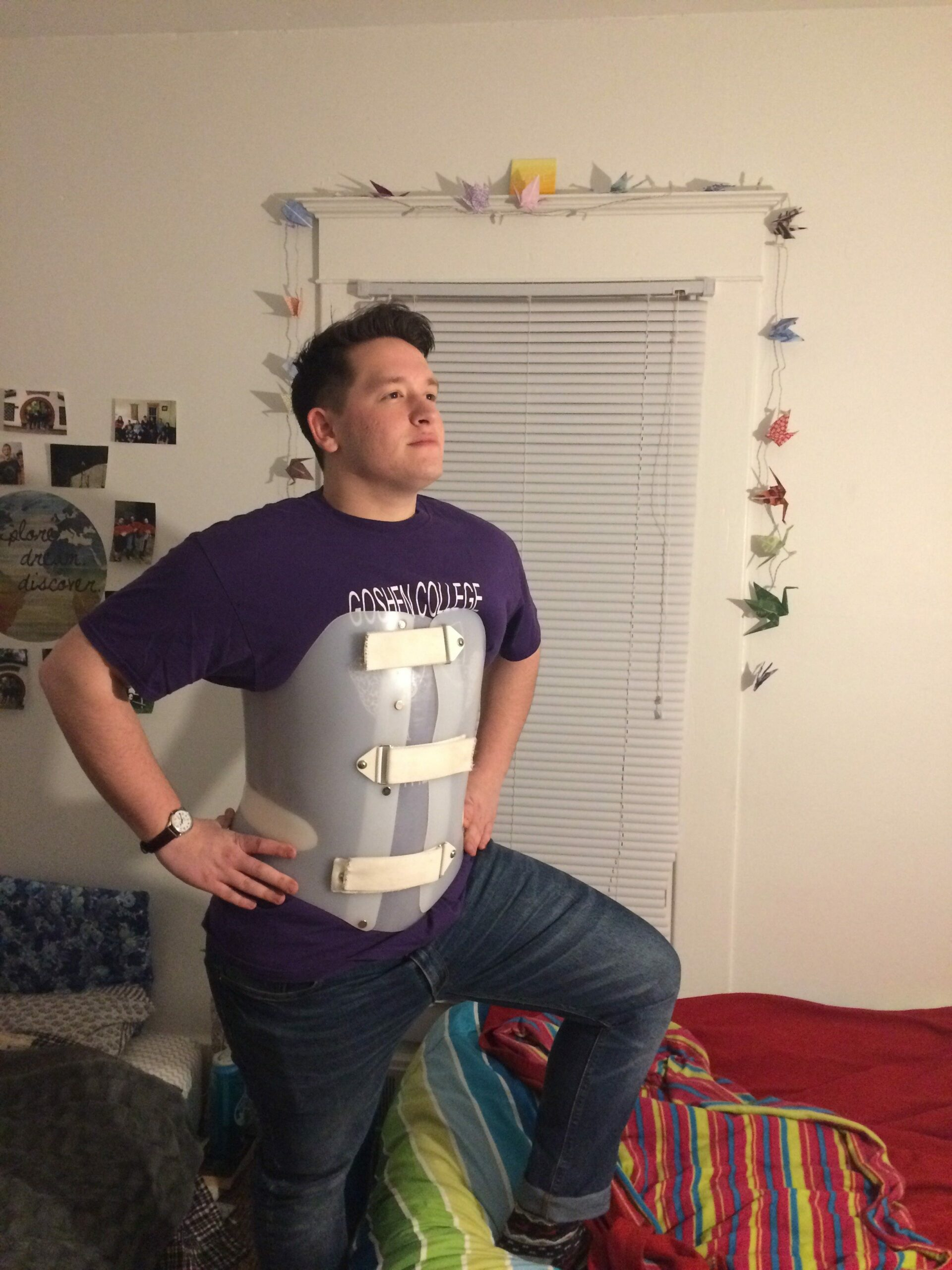 Jonah Yoder strikes a pose in his back brace