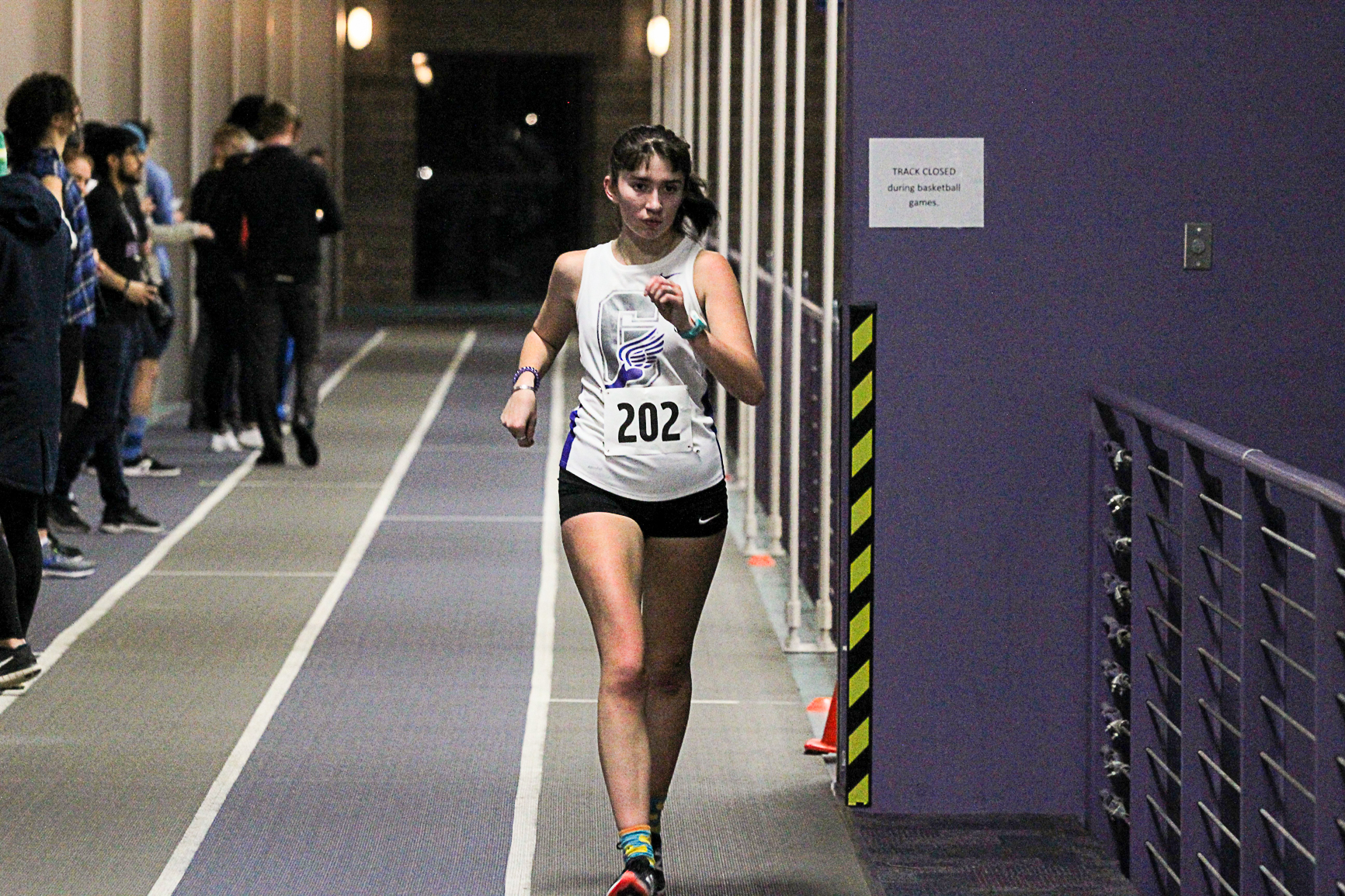 Hayley Bickford competes in the race walk event on the RFC indoor track