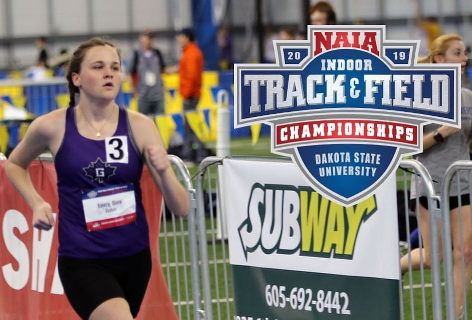 Siana Emery competes in the race walk event at the NAIA Indoor Track and Field Championships
