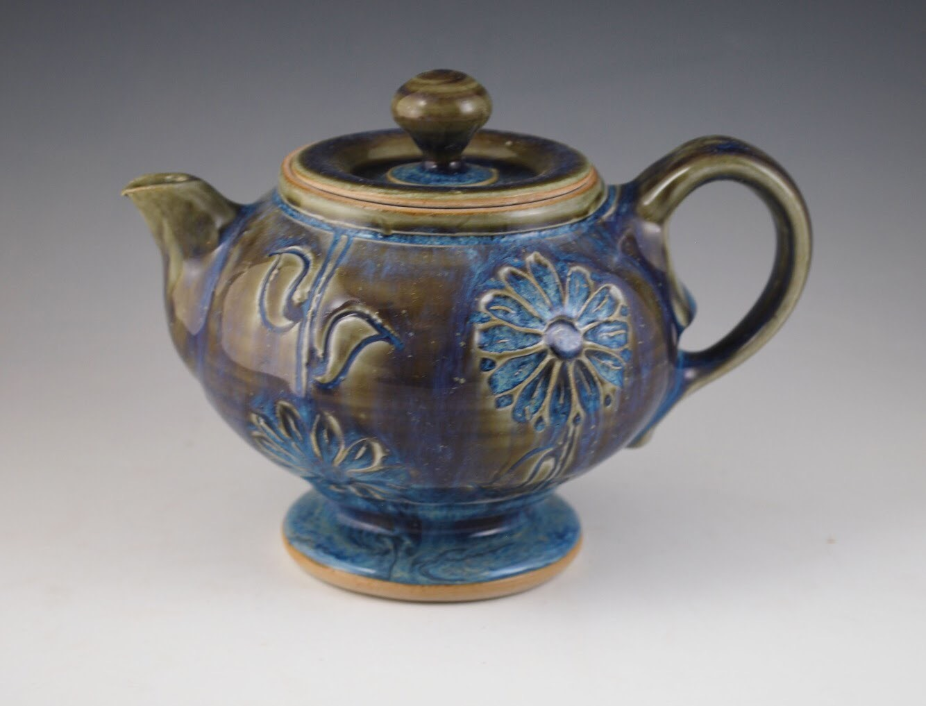 One of Norah Glass's ceramic teapots